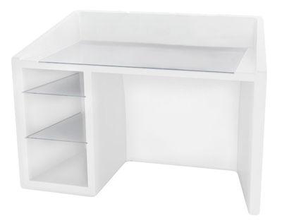 Arredamento - Mobili da ufficio - Scrivania luminosa Kanal - / Luminosa di Slide - Bianco - Polietilene riciclabile, Vetro