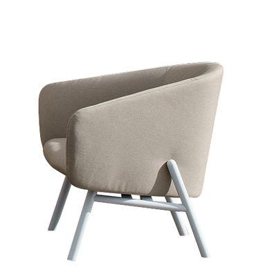 Outdoor - Stühle - Tuile Sessel / outdoorgeeignet - L 90 cm - Kristalia - Beige & weiß - lackierter Stahl, Polyurhethan, Sunbrella-Gewebe