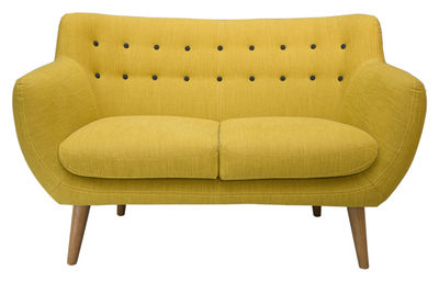 Möbel - Sofas - Coogee Sofa / 2-Sitzer - L 132 cm - Sentou Edition - Zitronengelb / pechschwarz - Gewebe, Holz, Schaumstoff