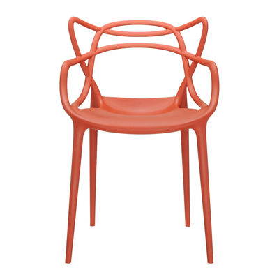 Furniture - Chairs - Masters Stackable armchair - Plastic by Kartell - Orange rust - Recycled thermoplastic technopolymer