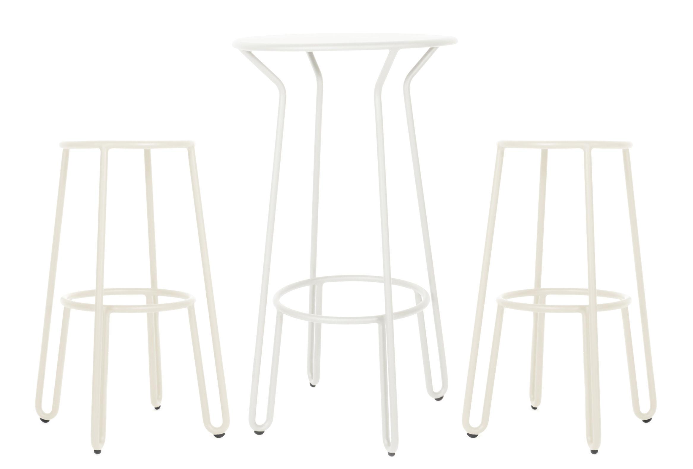 Möbel - Barhocker - Huggy Stehtisch / + 2 Barhocker H 75 cm - Maiori - Weiß - Aluminium laqué époxy