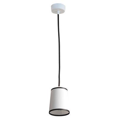 Luminaire - Suspensions - Suspension Light Book Ø 10 cm - Designheure - Tissu diffusant blanc / Bordure noire - Acier laqué, Tissu