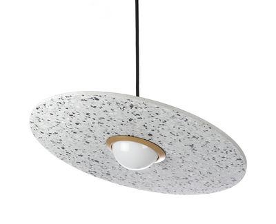 Suspension Terrazzo Planet / Disque inclinable - XL Boom blanc,laiton en pierre