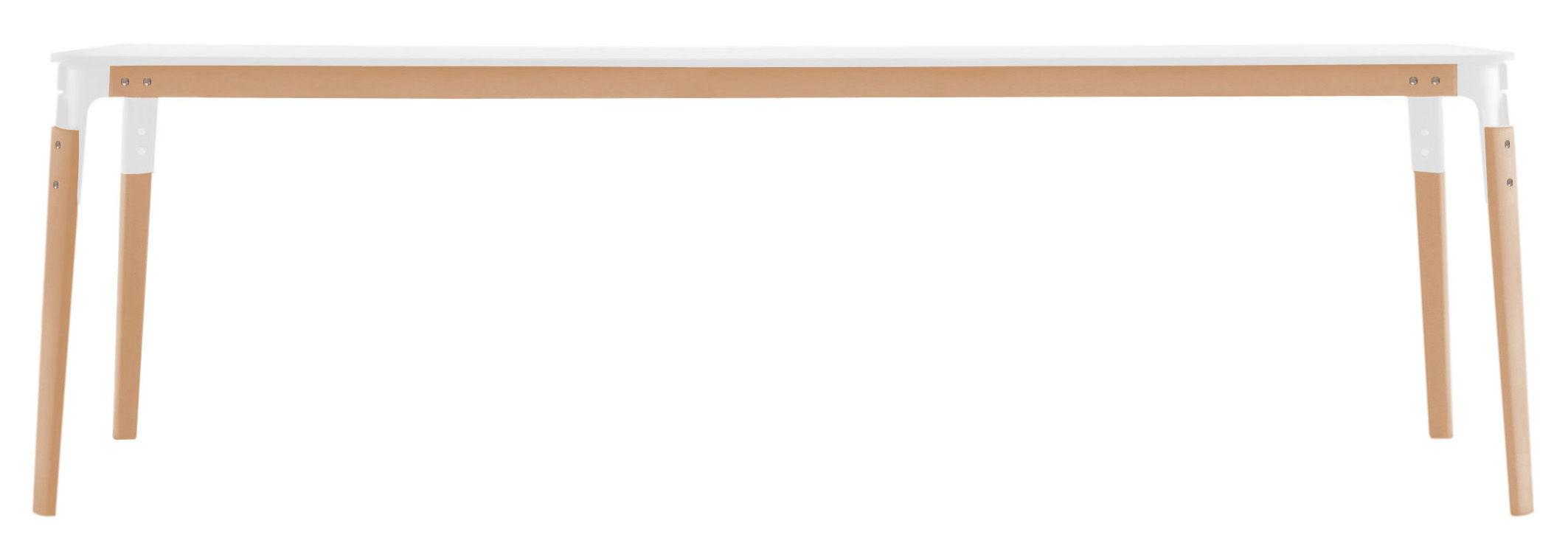 Mobilier - Mobilier Ados - Table Steelwood / 180 x 90 cm - Magis - Blanc et hêtre - 180 x 90 cm - Acier verni, Hêtre, Laminé HPL verni