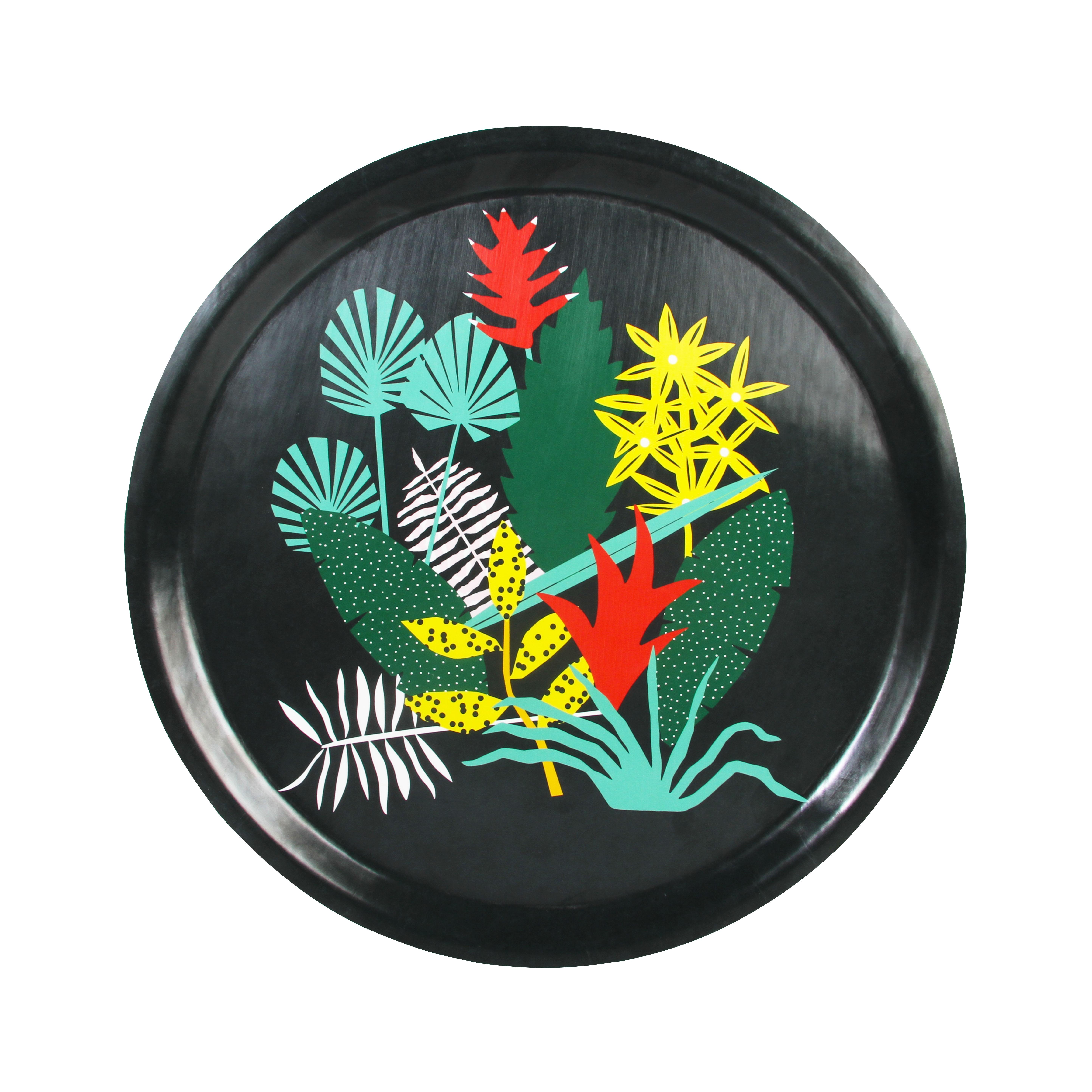 Tischkultur - Tabletts - Botanic Tablett / Melamin - Ø 31 cm - & klevering - Mehrfarbige Blumenmotive auf schwarzem Grund - Furnier, Melamin