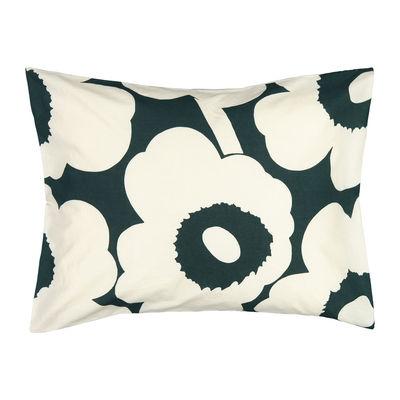 Déco - Textile - Taie d'oreiller 65 x 65 cm Unikko / Coton-chanvre - Marimekko - Taie oreiller / Unikko Vert foncé - Chanvre, Coton