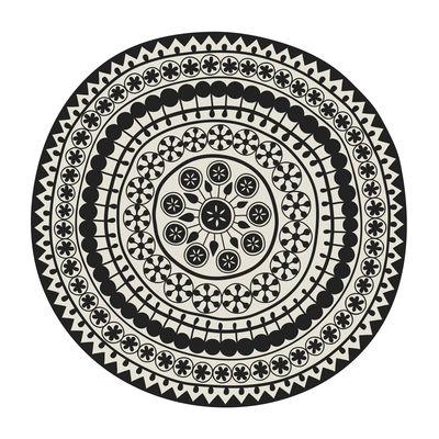 Outdoor - Déco et accessoires - Tapis Sand Storm / Ø 145 cm - Vinyle - PÔDEVACHE - Sand storm n°2 / Beige & noir - Vinyle