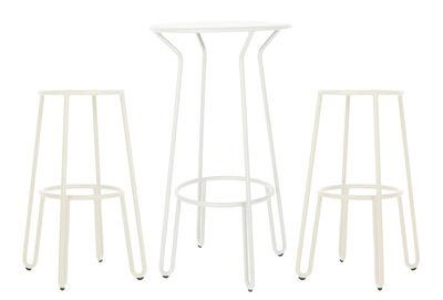 Huggy tavolo bar alto 2 sgabelli da bar h 75 cm bianco by