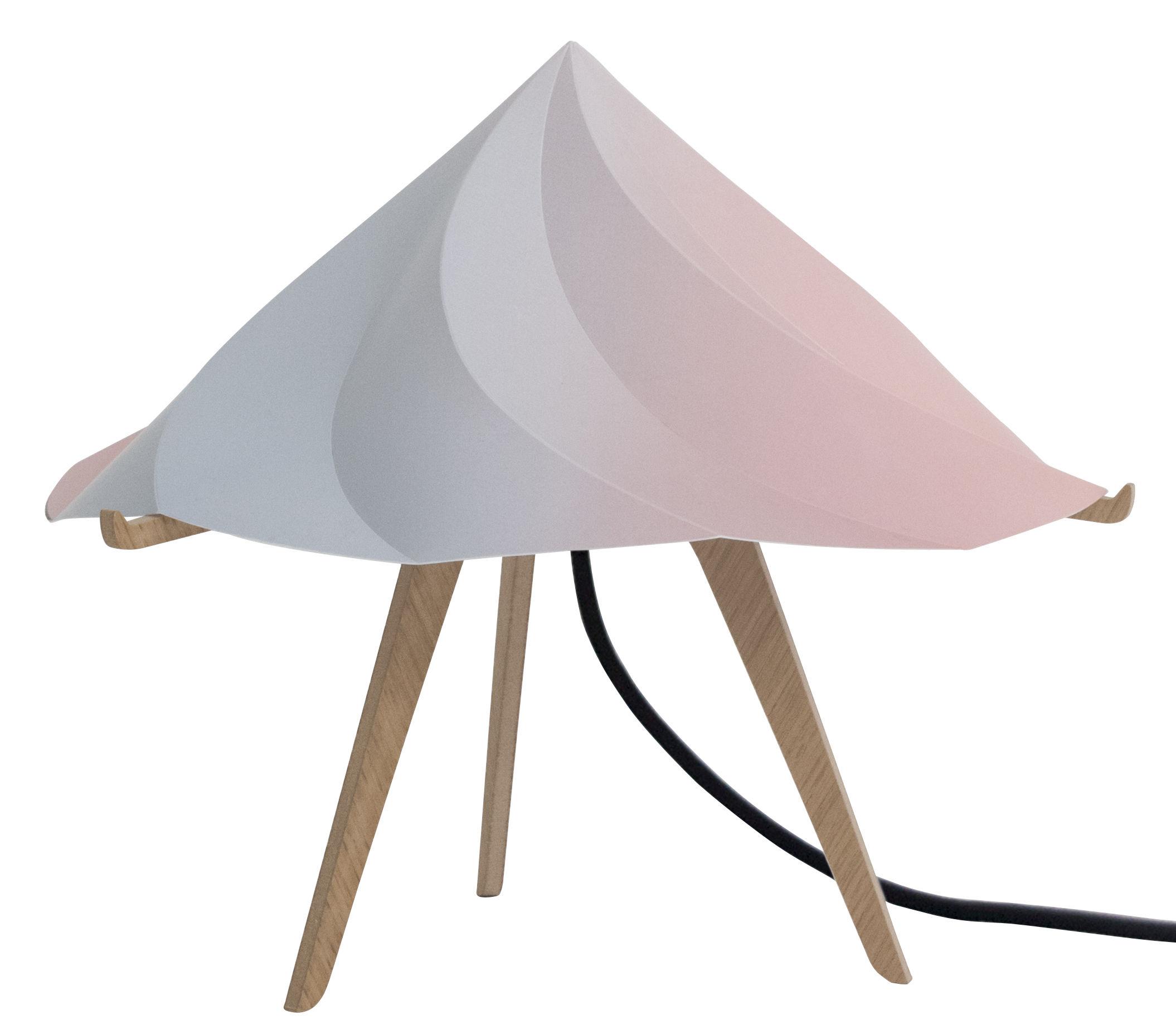 Leuchten - Tischleuchten - Chantilly Small Tischleuchte / H 28 cm - Moustache - Mehrfarbig - Polypropylène recyclé, Vielschicht-Sperrholz in Eiche