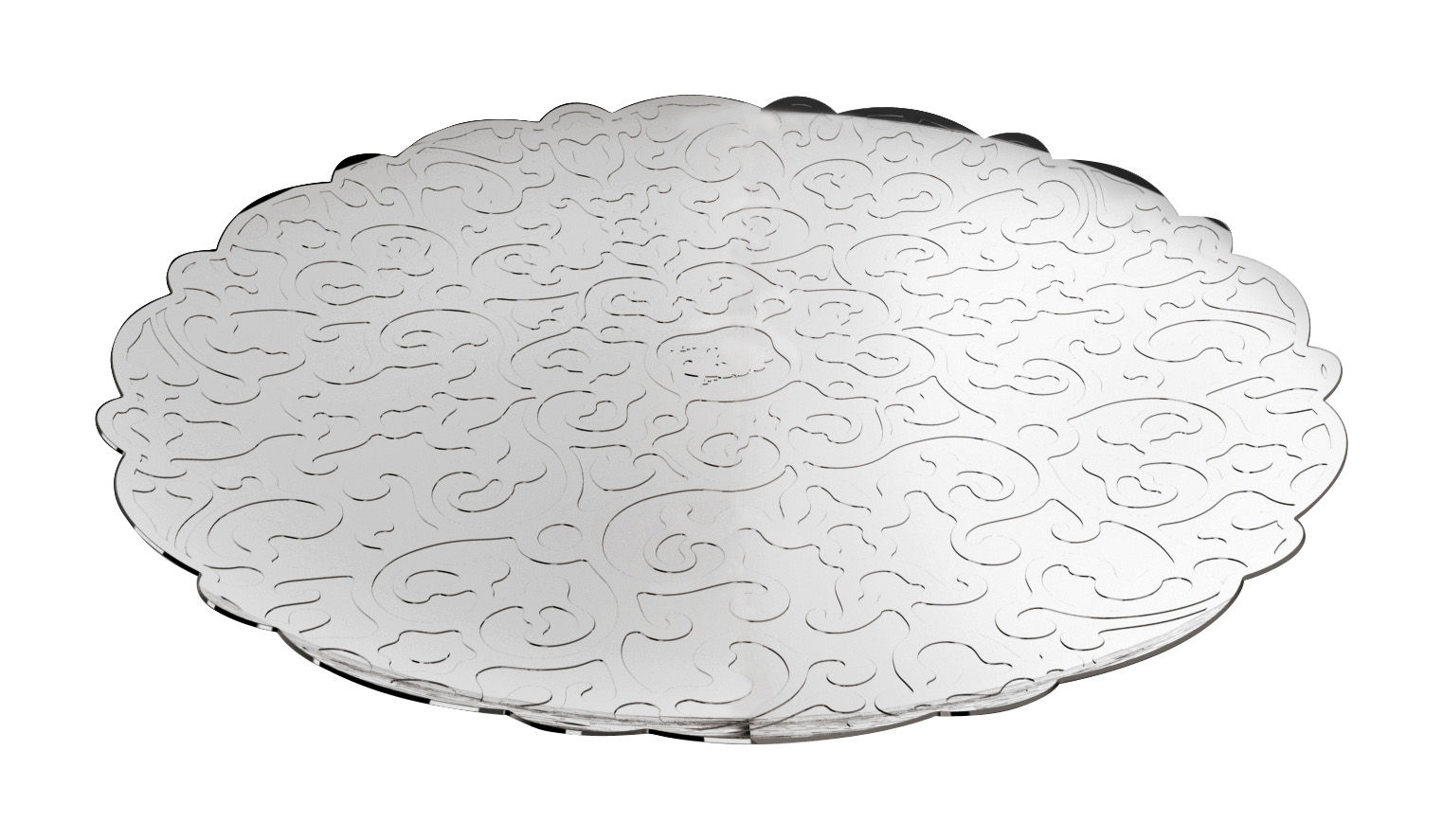 Tableware - Trays - Dressed Tray - Ø 35 cm by Alessi - Mirror polished steel - Stainless steel