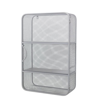 Furniture - Bookcases & Bookshelves - Wall storage - / Perforated metal - 40 x H 61 cm by Bloomingville - Grey - Lacquered perforated metal, Lacquered pine