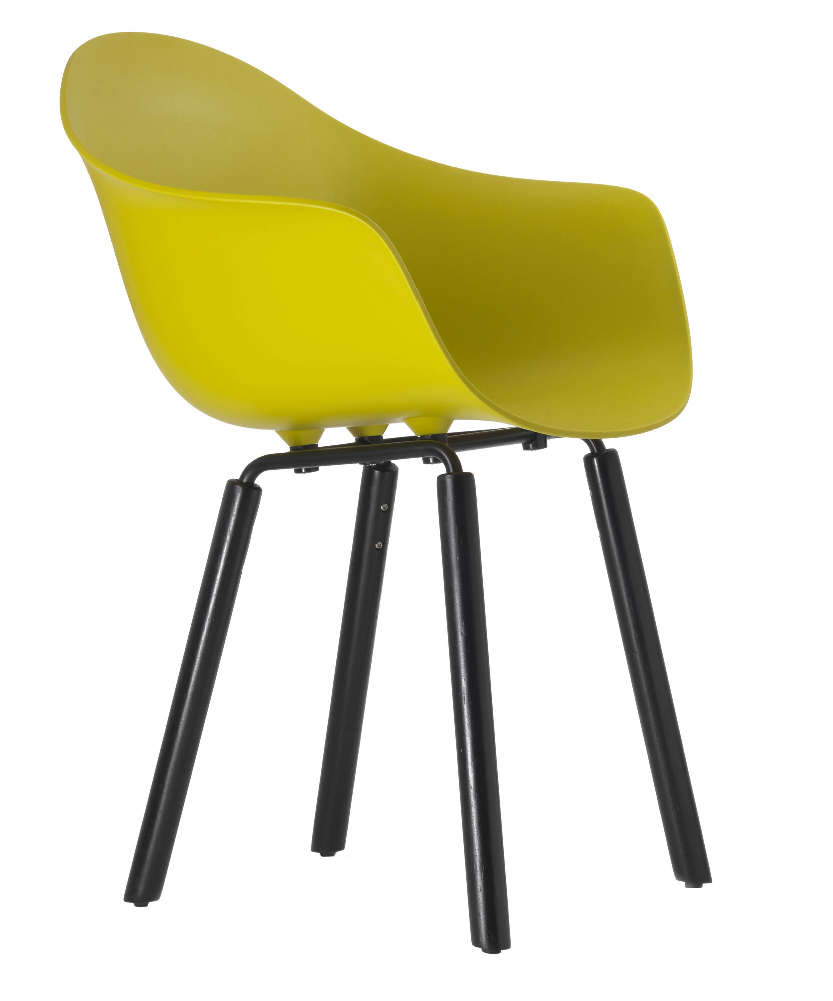 Furniture - Chairs - TA Armchair - Wood legs by Toou - Yellow / Black legs - Lacquered metal, Painted oak, Polypropylene