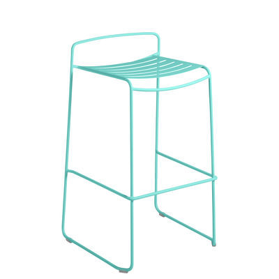 Furniture - Bar Stools - Surprising Bar stool - / Metal - H 78 cm by Fermob - Lagoon blue - Painted steel