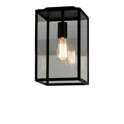 Lighting - Outdoor Lighting - Homefield Ceiling light - / Glass & metal by Astro Lighting - Black & transparent - Glass, Stainless steel