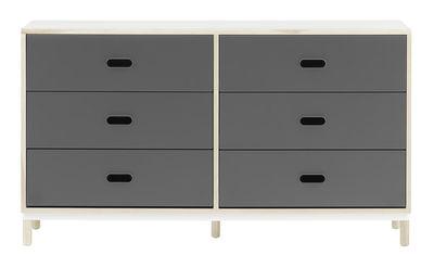 Commode Kabino 6 tiroirs / L 146 x H 83 cm - 6 tiroirs - Normann Copenhagen gris,frêne naturel en métal