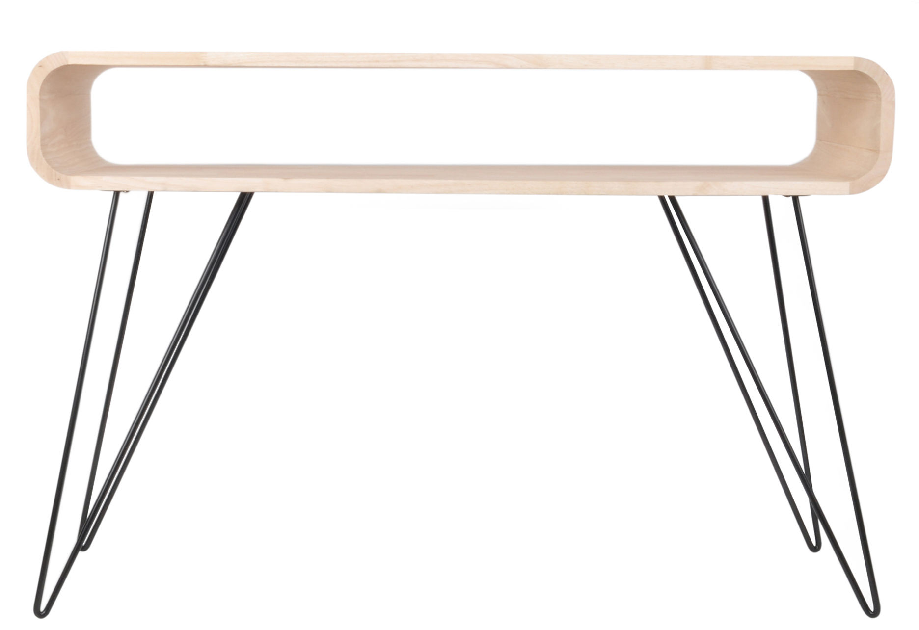 Furniture - Console Tables - Metro Sofa Console - 120 x 40 x H 80 cm by XL Boom - Natural wood / Black - Hevea wood, Painted metal