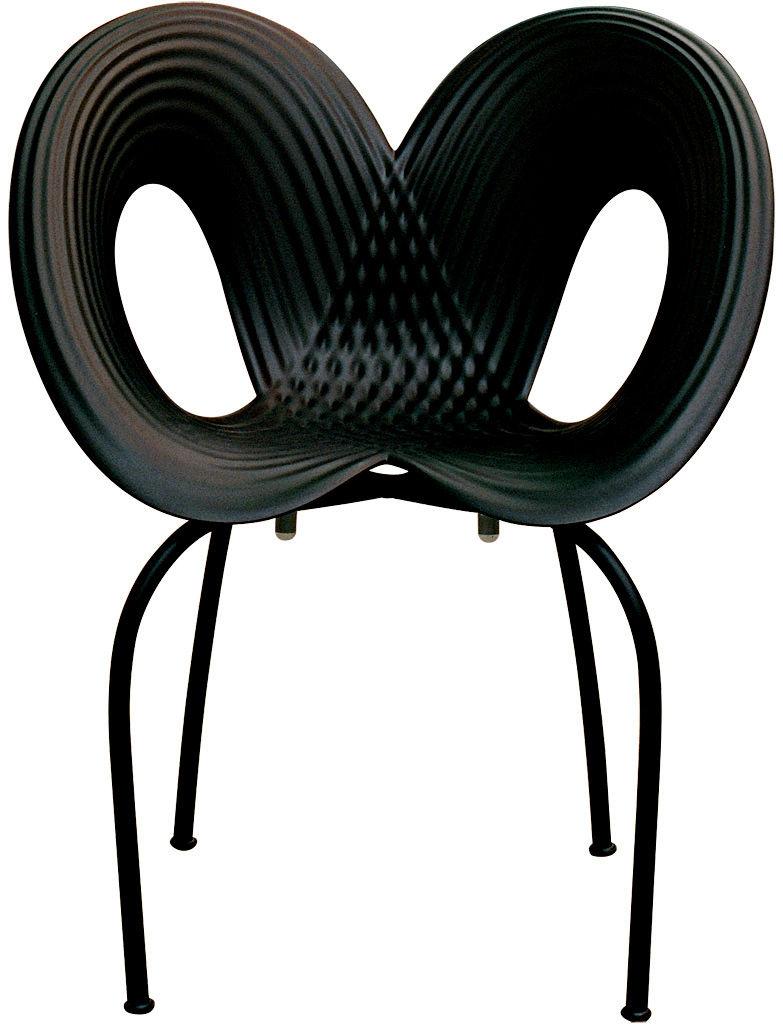 Mobilier - Chaises, fauteuils de salle à manger - Fauteuil empilable Ripple chair / Polypropylène & pieds métal - Moroso - Coque noire / pieds noirs - Acier verni, Polypropylène