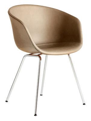 Fauteuil rembourré About a chair AAC27 / Cuir intégral & métal - Hay chromé,nougat en cuir