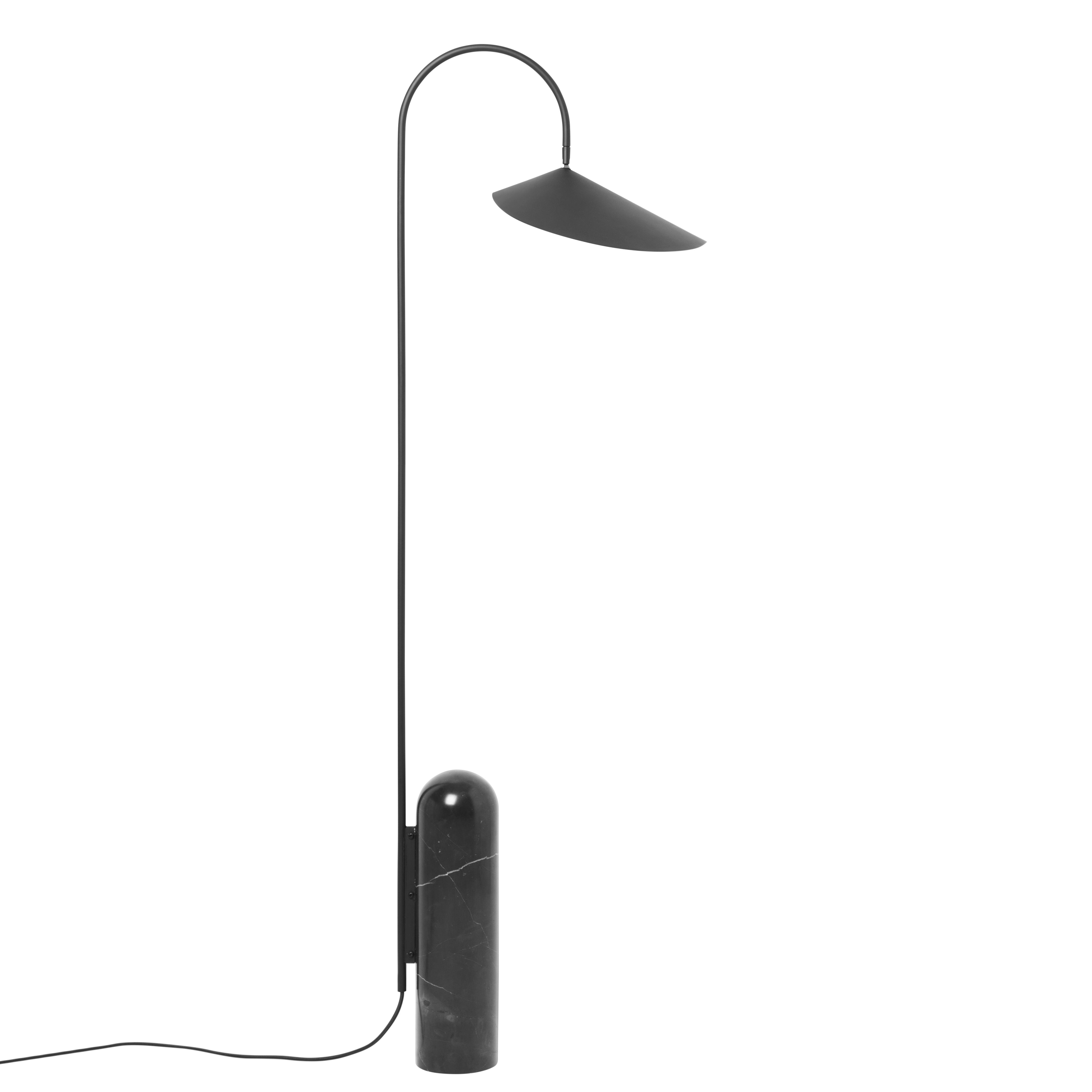 Luminaire - Lampadaires - Lampadaire Arum / Métal & marbre - Orientable - Ferm Living - Noir - Acier laqué époxy, Marbre