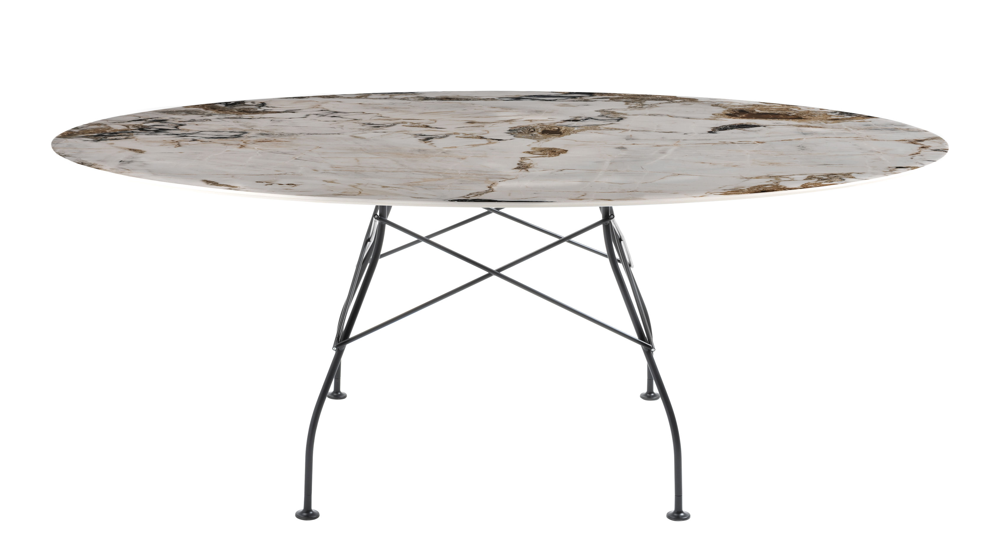 Furniture - Dining Tables - Glossy Marble Oval table - / 192 x 118 cm - Marble-effect sandstone by Kartell - Brown & beige tones / Black leg - Lacquered steel, Marble-effect sandstone