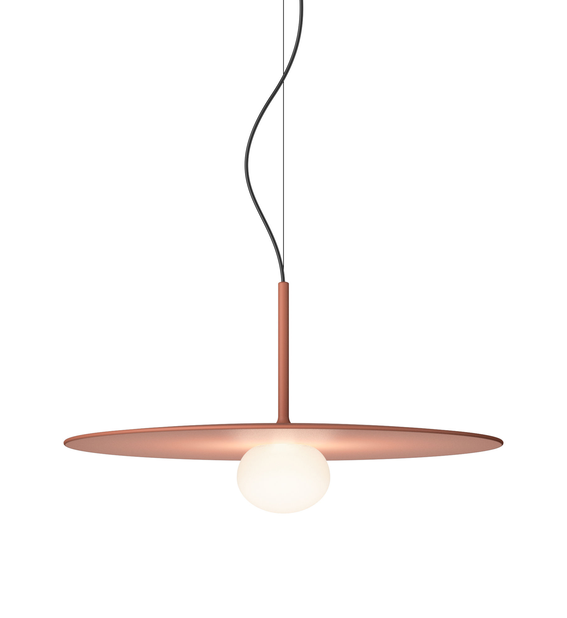 Lighting - Pendant Lighting - Tempo Disque  Large Pendant - / LED - Ø 40 cm by Vibia - Terracotta - Blown glass, Lacquered aluminium