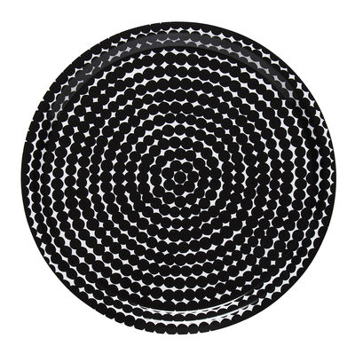 Plateau Räsymatto / Ø 31 cm - Marimekko blanc,noir en bois