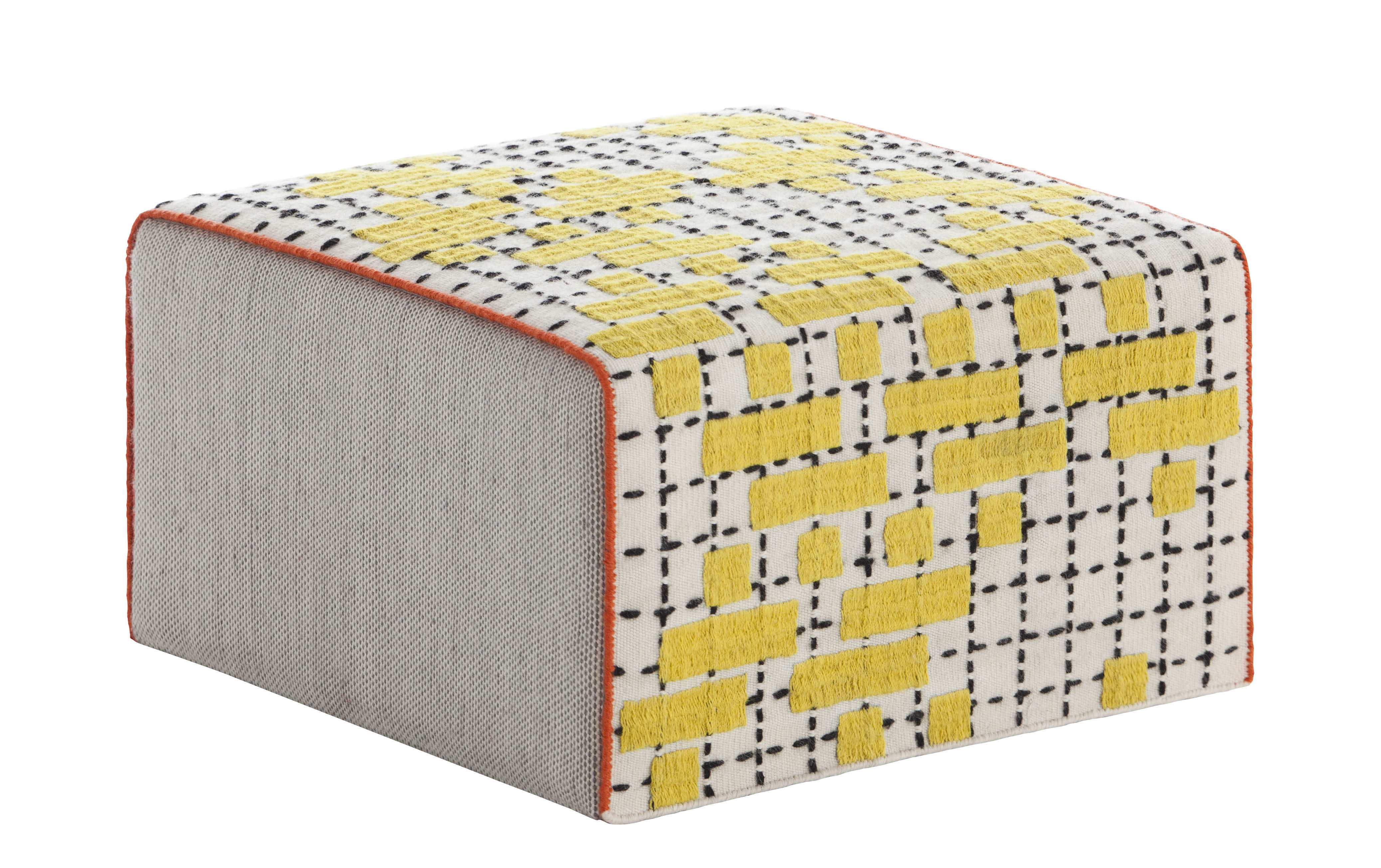 Furniture - Poufs & Floor Cushions - Bandas Small Pouf - 60 x 60 x H 35 cm by Gan - Yellow - Wool