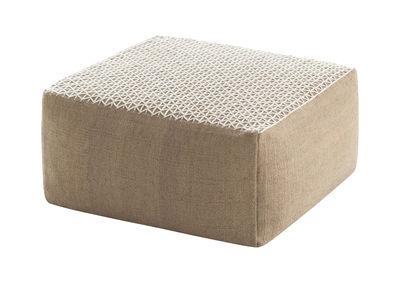 Pouf Raw / 78 x 78 cm - Gan blanc en tissu