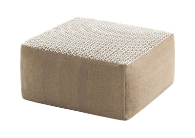 Furniture - Poufs & Floor Cushions - Raw Pouf - 81 x 78 cm by Gan - White - Natural jute, Rubber foam, Wool