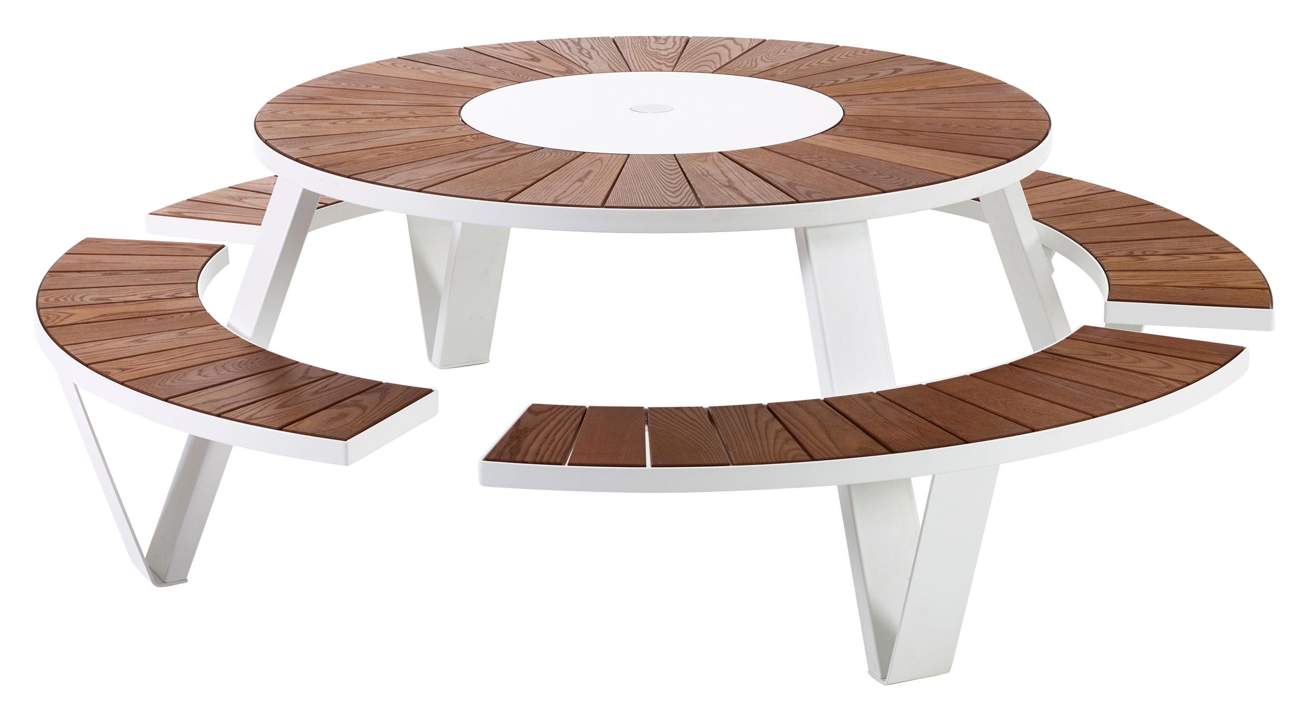 Outdoor - Tables de jardin - Set table & assises Pantagruel / Ø 146 cm - Extremis - Blanc / Bois - Acier galvanisé laqué, Frêne traité, HPL