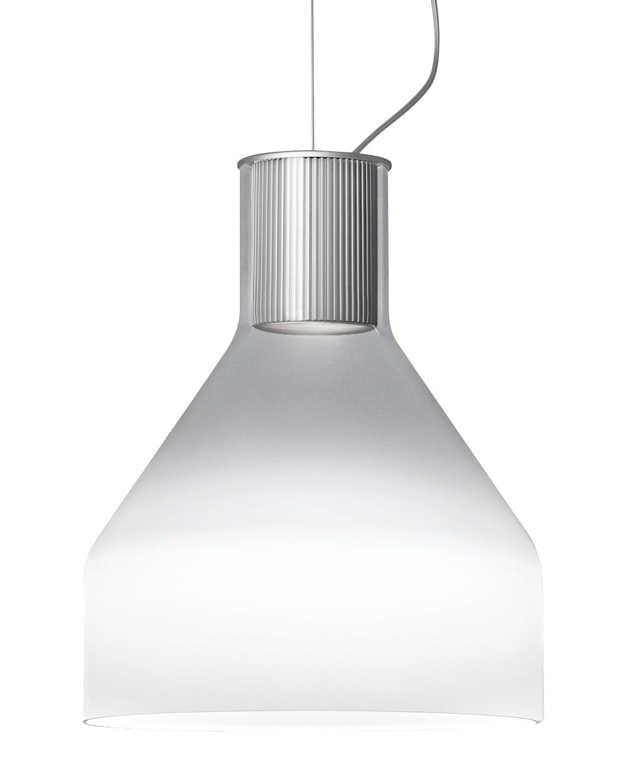 Illuminazione - Lampadari - Sospensione Caiigo - / Vetro di Murano soffiato a bocca - H 29 cm di Foscarini - Bianco fumé opaco/ Trasparente - Alluminio, Vetro soffiato a bocca
