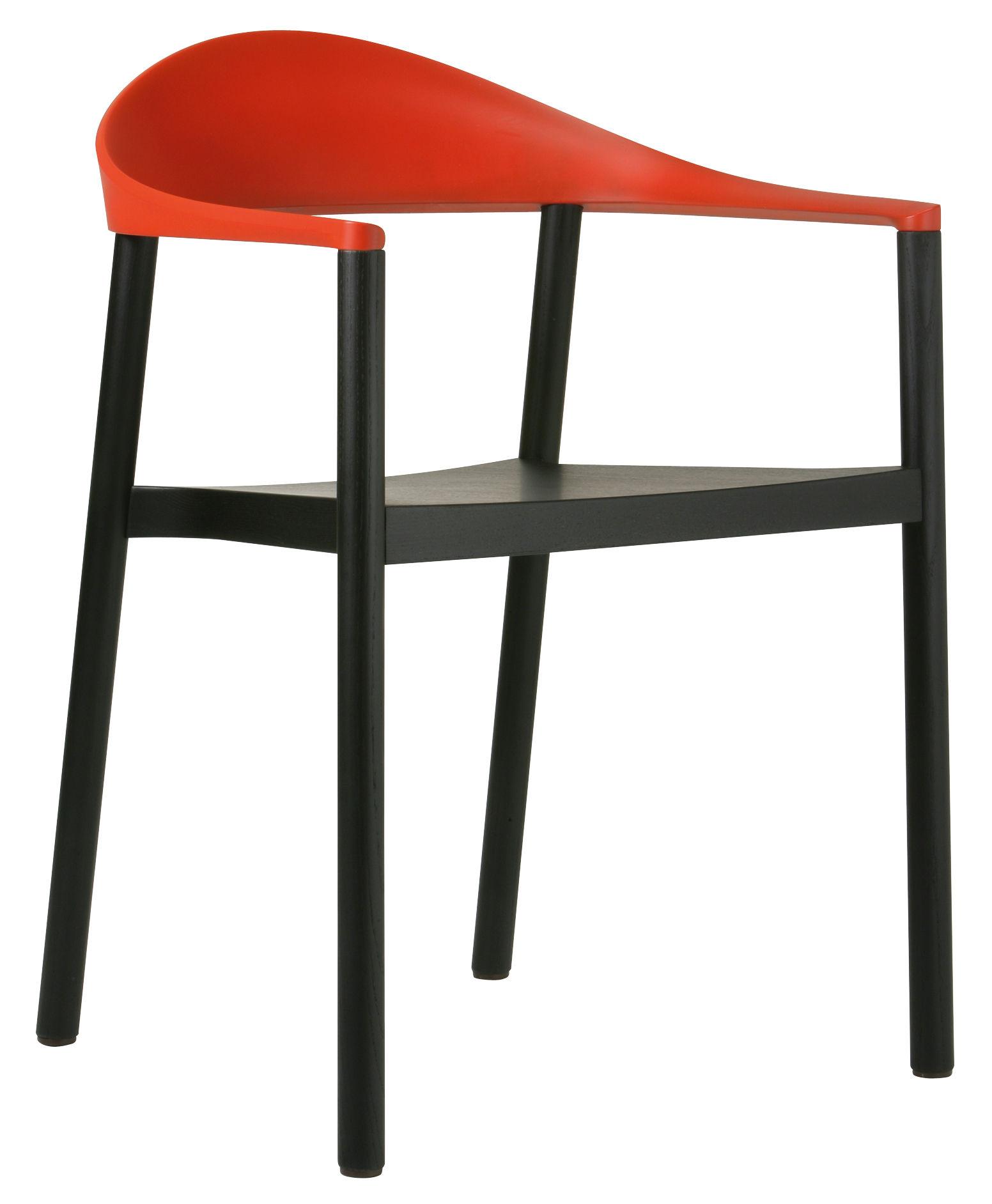 Möbel - Stühle  - Monza Stapelbarer Sessel Gestell schwarzes Holz - Plank - Schwarz - Lehne rot - lackierte Esche, Polypropylen