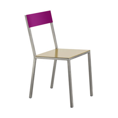 Möbel - Stühle  - Alu Stuhl - valerie objects - Sitzfläche curryfarben / Rückenlehne lila - Aluminium
