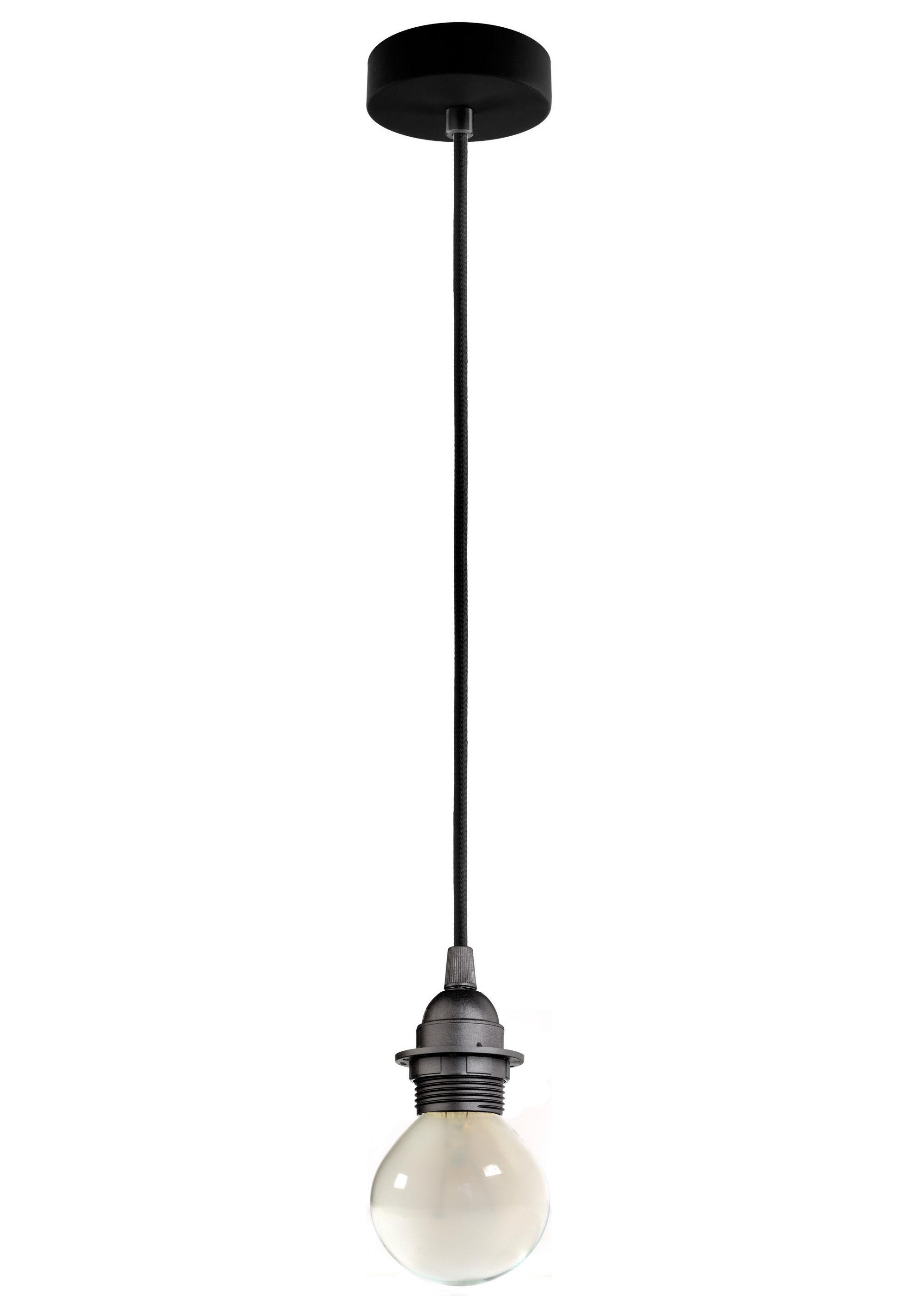 Luminaire - Suspensions - Suspension Bi Kage / Câble, douille & rosace - Sotto Luce - Douille noire / Câble noir / Rosace noire - Métal, Plastique, Tissu