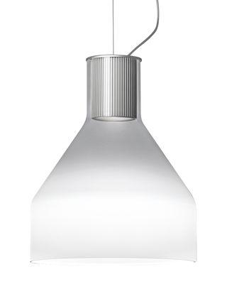 Luminaire - Suspensions - Suspension Caiigo / Verre de Murano soufflé bouche - H 29 cm - Foscarini - Blanc fumé opaque/ Transparent - Aluminium, Verre soufflé bouche