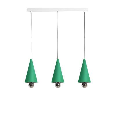 Luminaire - Suspensions - Suspension Cherry Line / LED - L 90 cm / 3 abat-jours Small - Petite Friture - Vert menthe / Sphère titanium - Aluminium