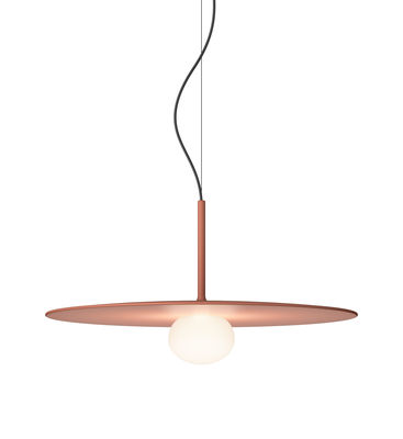 Suspension Tempo Disque  Large / LED - Ø 40 cm - Vibia terracotta,blanc opalin en métal