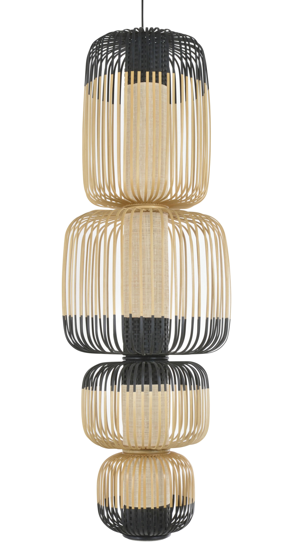 Luminaire - Suspensions - Suspension Totem Bamboo Light / 4 abat-jours - H 135 cm - Forestier - H 135 cm/ Noir & naturel - Bambou, Tissu