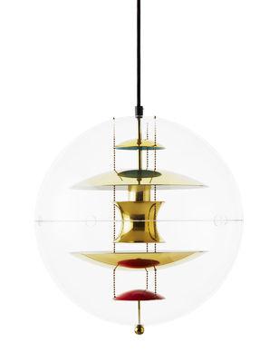 Luminaire - Suspensions - Suspension VP Globe / Ø 40 cm - Panton 1969 - Verpan - Transparent / Laiton, orange & bleu - Acrylique, Aluminium