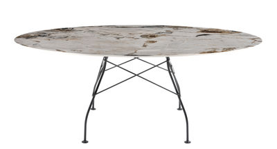 Furniture - Dining Tables - Glossy Marble Table ovale - / 192 x 118 cm - Marble-effect sandstone by Kartell - Brown & beige tones / Black leg - Grès effet marbre, Lacquered steel