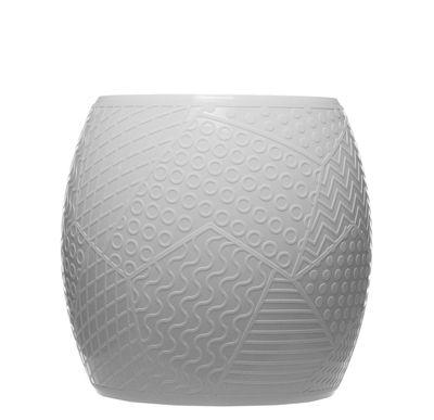 Mobilier - Tabourets bas - Tabouret Roy / H 43 cm - Plastique avec décor en relief - Kartell - Blanc - Technopolymère thermoplastique