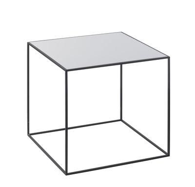 Arredamento - Tavolini  - Tavolino d'appoggio Twin - / L 35  x H 35 cm - Piano reversibile di by Lassen - L 35 cm / 1 lato grigio + 1 lato nero - Acciaio laccato, Frassino tinto, Melamina