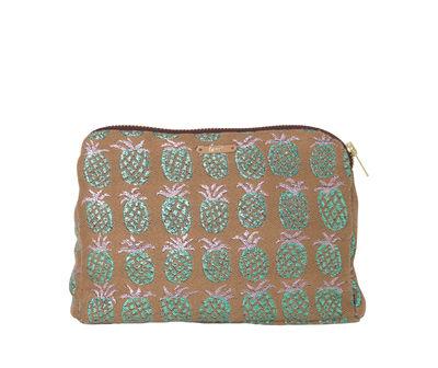 Accessoires - Sacs, trousses, porte-monnaie... - Trousse Salon - Ananas / L 22 x H 15 cm - Ferm Living - Pêche & vert irisé - Fibres mélangées, Laiton