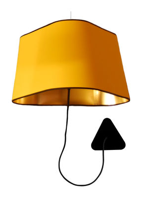 Lighting - Wall Lights - Grand Nuage Wall light with plug - Ceiling fastening by Designheure - Yellow fabric outside / Gold lacquered inside - Black cord - Fabric, Polycarbonate