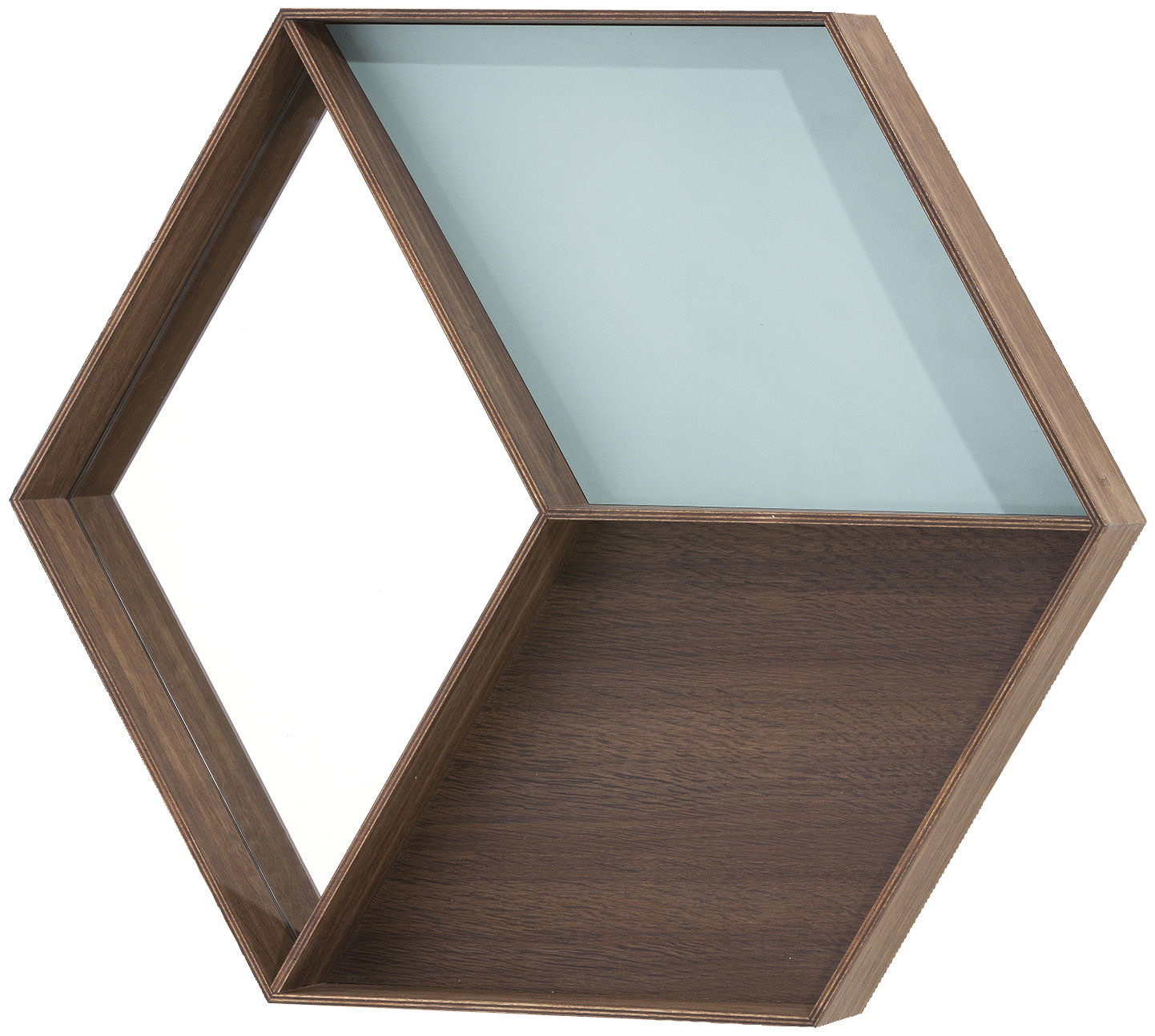 Furniture - Bookcases & Bookshelves - Wall Wonder Wall mirror by Ferm Living - Smoked oak / Blue - Brass, Painted laminate, Smoked oak