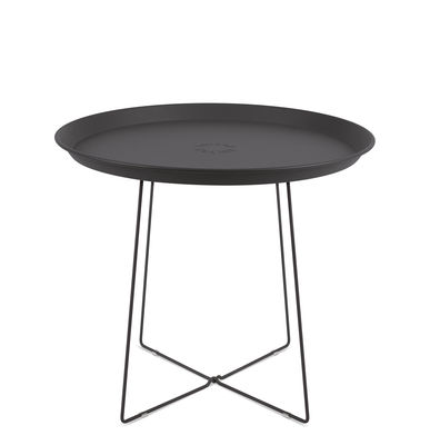 Furniture - Coffee Tables - Plat-o Coffee table - / Detachable top - Ø 56 x H 46 cm by Fatboy - Charcoal grey - Painted steel
