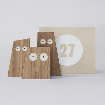 Déco - Objets déco et cadres-photos - Coffret Designerbox#27 / Décoration 'Les Chouettes' - Big Game - Designerbox - Bois/ Coffret Bois - Chêne naturel