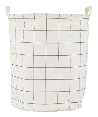 Corbeille à linge Squares / Ø 40 x H 50 cm - House Doctor blanc,noir en tissu