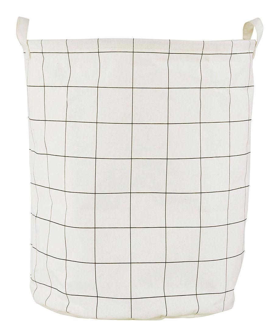 Déco - Paniers et petits rangements - Corbeille à linge Squares / Ø 40 x H 50 cm - House Doctor - Carreaux - Coton enduit