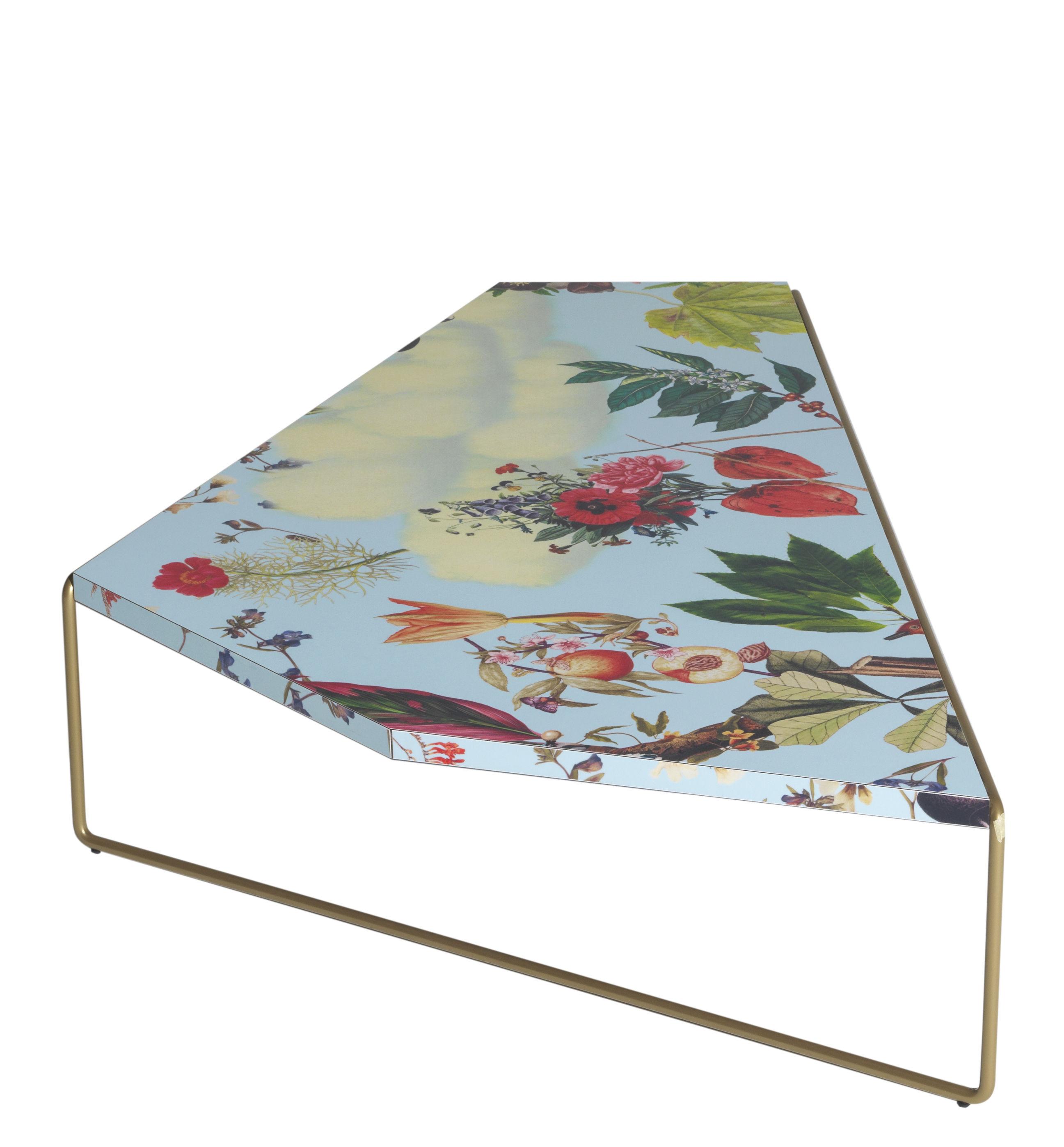 Möbel - Couchtische - Zagazig Couchtisch / 113 x 74 cm x H 27 cm - Driade - Blumenmotive auf blauem Grund - HPL, Stahl